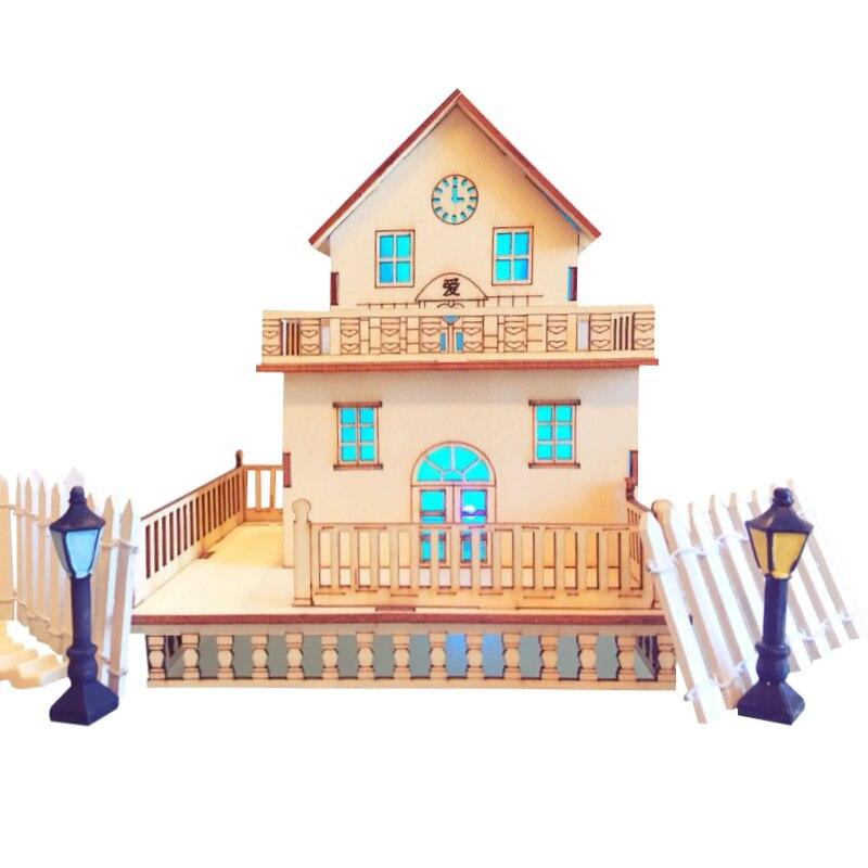 Fairy House Building Miniature Craft Handmade DIY Wood Crafts Micro Flash Villa Desk Landscape Decoration For Birthday Gifts
