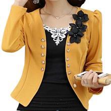 5 x (blazer female slim outerwear blazer elegant spring autumn outerwear coat women ladies jacket clothes yellow 2XL
