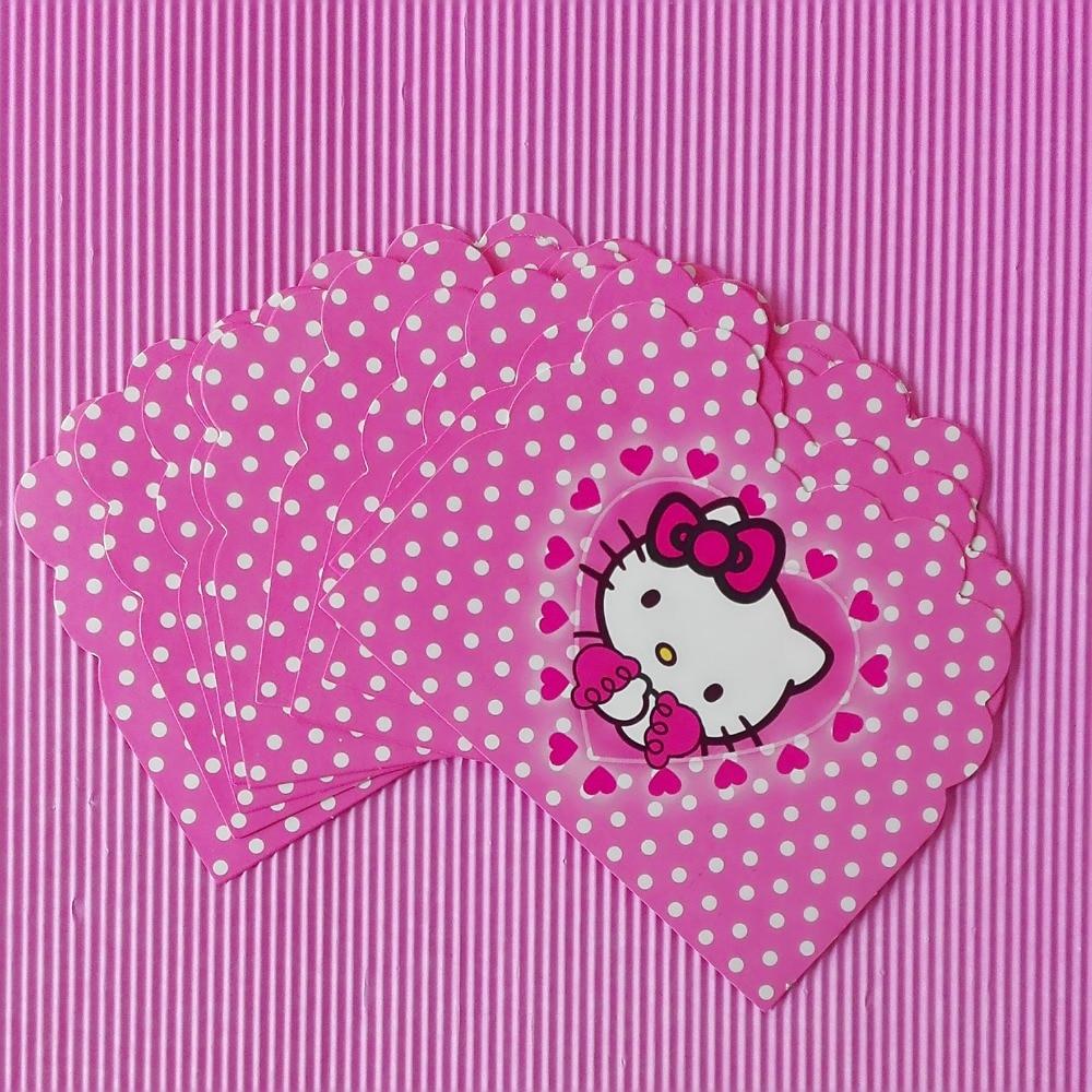 10pclot Cartoon Hello Kitty Invitation Card Childrens Birthday