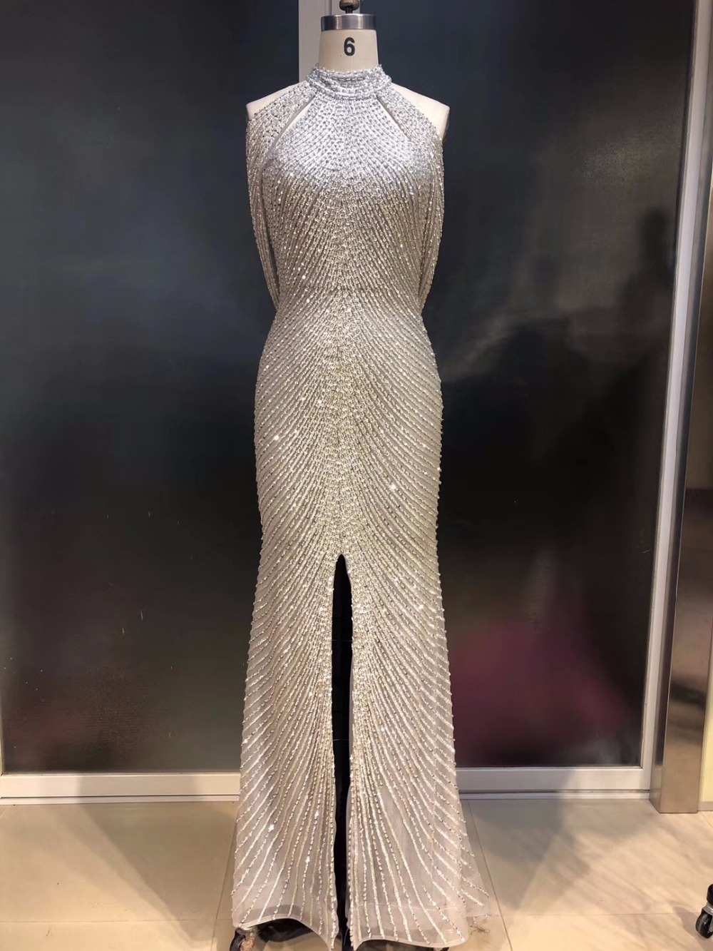 Luxurious Full Beading   Evening     Dresses   Long 2019 Halter Front Slit Party Gowns Women Prom Gown