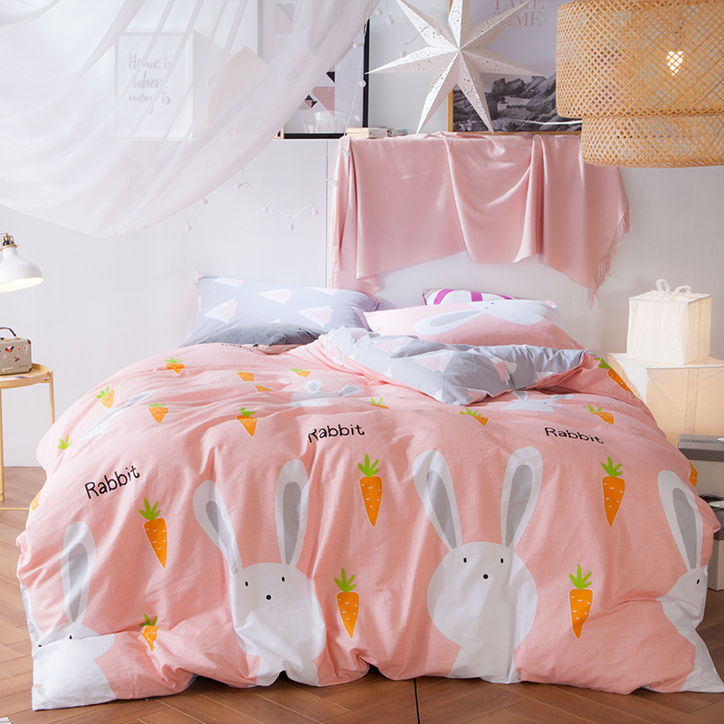 cartoon 4pcs kids bedding set queen size rabbit duvet cover cotton bed sheet bedding pillowcases reactive
