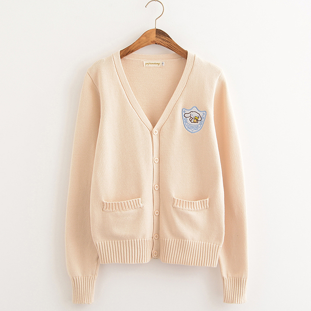 Cartoon embroidery Big ear dog Cherry pink/Almond/Water Blue Soft Knitted cotton sweater long-sleeved cardigan uniform cos JK 1