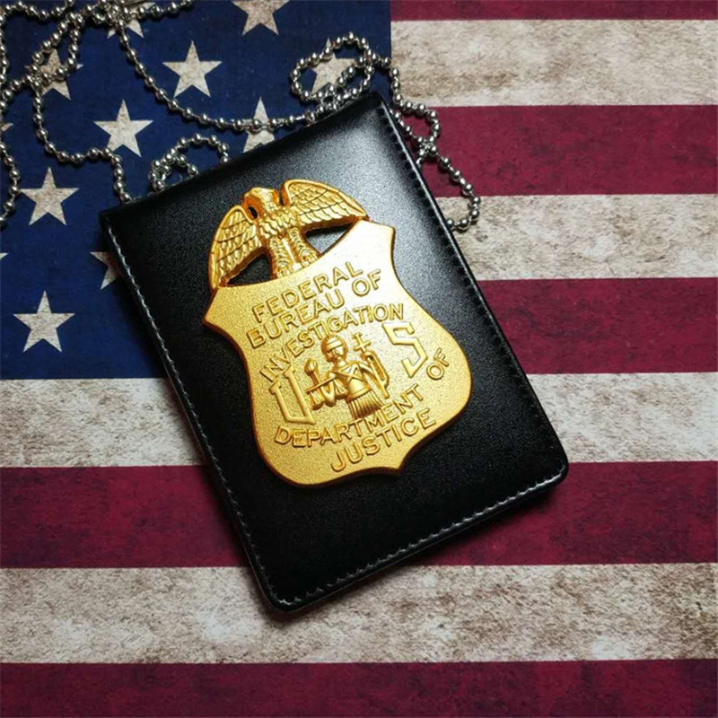 New Leather Universal Badgeholder Police Detective Badge Holder With Chain &  Clip For Men Gift Cosplay Collection Props 2 Types