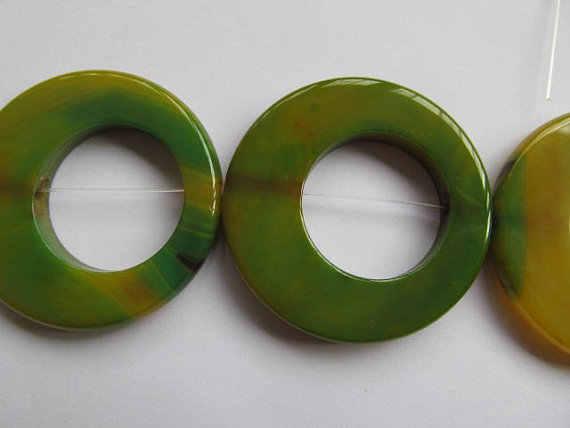 Alta qualidade 50mm completa strand natural ágata onyx rodada circuito oval círculos Rosquinha pedra verde amarelo vermelho branco preto mix talão neckl
