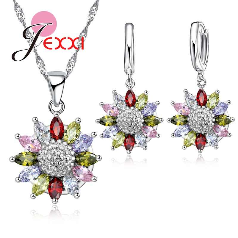 Free Shipping Chrysanthemum Pendant Necklace Earrings Woman Fashion Jewelry Set 925 Sterling Silver Hollow Crystal Flower