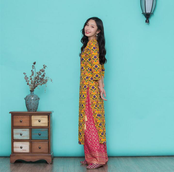 Woman Fashion Ethnic Styles Print Sets Kurtas Cotton India Dress Costume Lady Yellow Top And Pants