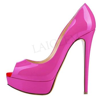 LAIGZEM Women Peep Toe Pumps Platform Heel Stiletto Sandals Wedding High Heels Slip On Dress Party Basic Shoes Plus Size 34-52