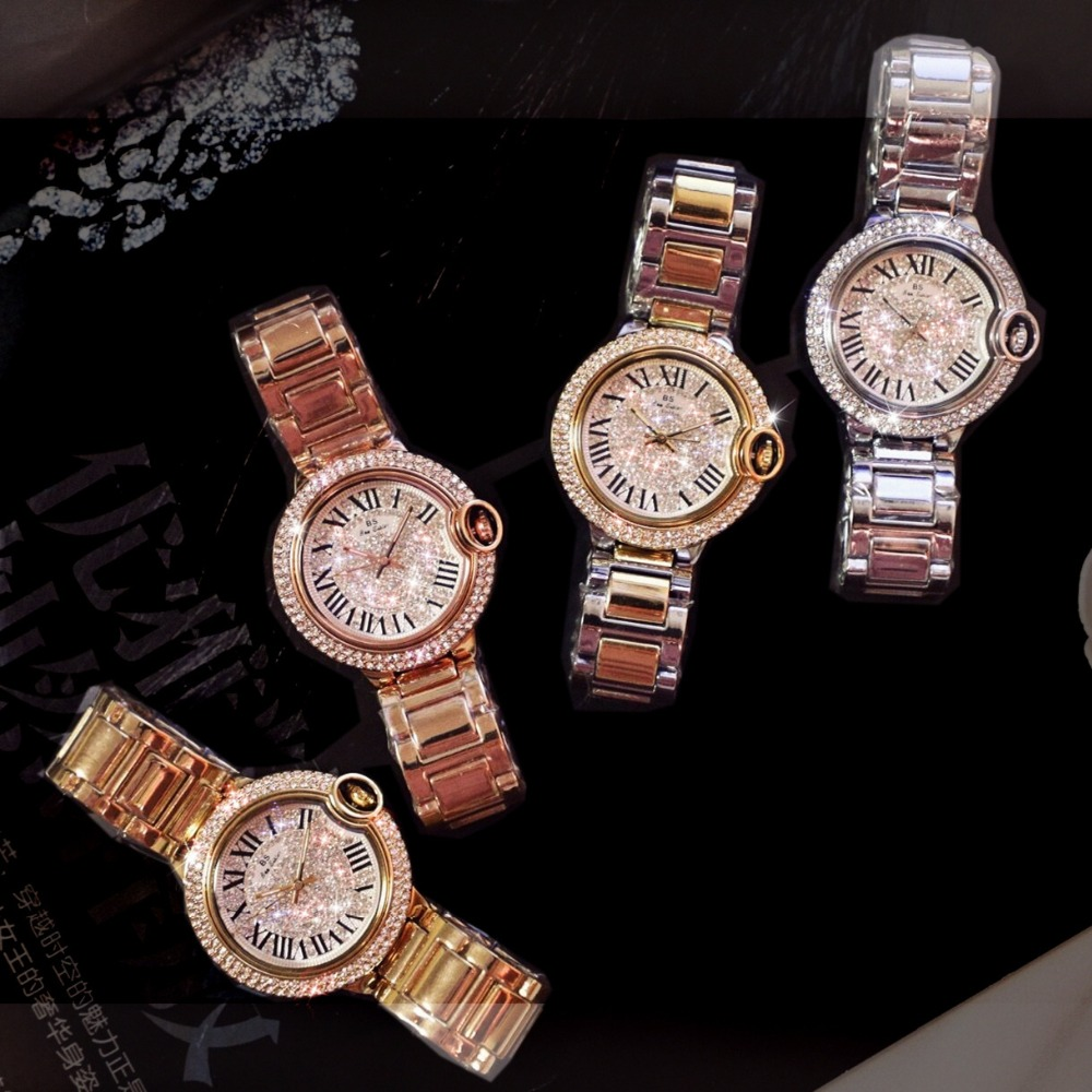 2017 Hot Sale Famous Brand Bling Watch Women Luxury Austrian Crystal Watch Gold Shinning Diomand Rhinestone Bangle Bracelet luxury women rhinestone bangle crystal flower bracelet quartz wrist watch men fashion sale hot style selling
