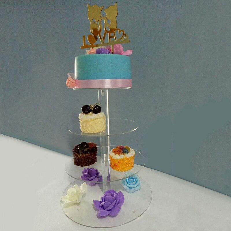 Transparent Cake Stand 3/4 Tiers Cake Stand Cake Tools Birthday Party Wedding Cupcake Holder Dessert Display Rack