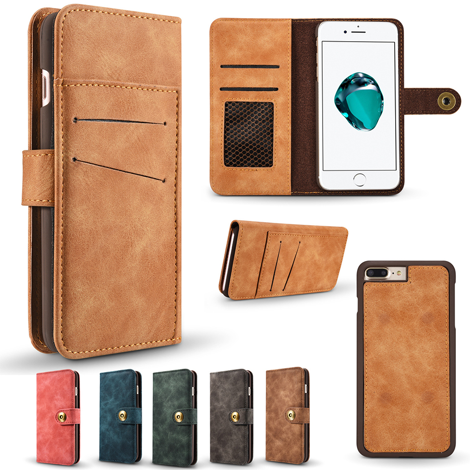 Leather 2 in 1 Magnetic Detachable Flip Cover For iPhone 6S Plus 8 7 Plus 6 6S 5S SE Case For samsung s8 s9 note8 Wallet Coque