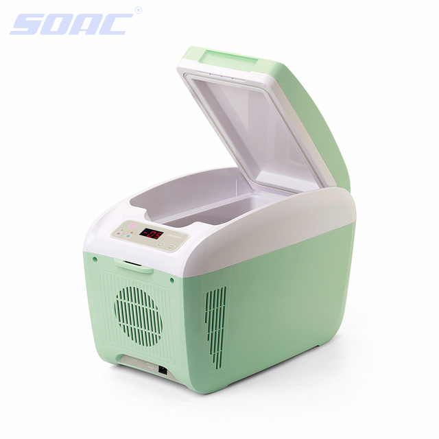 8L Car Refrigerator Portable Refrigerator Cold and Warm Mini Fridge 24V 12V Car Reefer for Truck 60W Green 9pcs Soda Cans Size