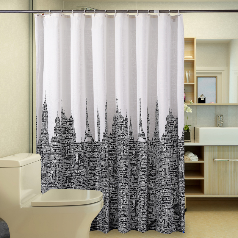 waterproof bathroom curtains white black polyester shower curtain
