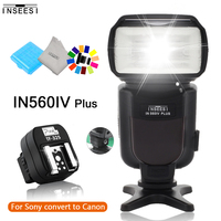 INSEESI IN560IV Plus LED Wireless Speedlite Flash & Pixel TF 325 Hot Shoe Adapter For Sony A65 A37 A77 A57 A100 A200 A230 A300