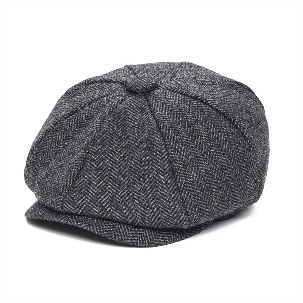 JANGOUL Woollen Tweed Kid Newsboy Cap Boy Girl Herringbone Child Flat Cap Small Size Infant Toddler Youth Beret Hat Boina 001