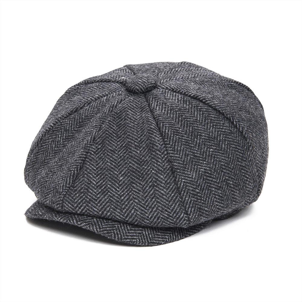 JANGOUL Woollen Tweed Kid Newsboy Cap Boy Girl Herringbone Child Flat Cap Small Size Infant Toddler Youth Beret Hat Boina 001
