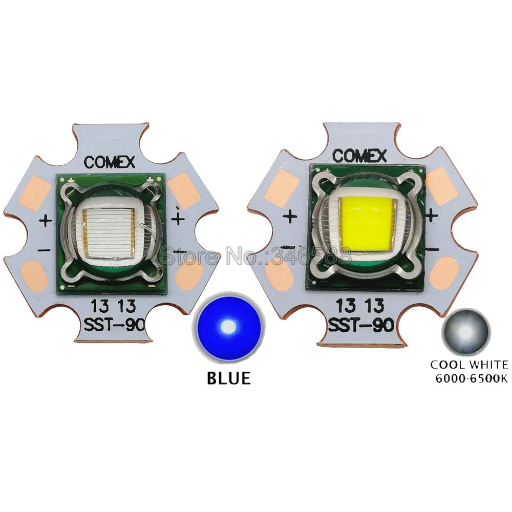 30W Luminus SST-90 SST90 Cold White 6500K - 7000K Blue 455NM High Power Led Bulb Light 3.2-3.4V 5-7A For Stage Lighting