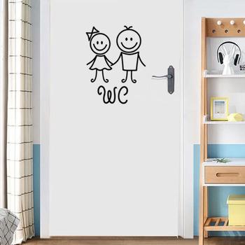 Cartoon mężczyźni i kobiety WC naklejka ścienna do dekoracja łazienki vinyl home naklejki wodoodporne plakat naklejki na drzwi znak WC tanie i dobre opinie HonC Jednoczęściowy pakiet Nowoczesne None Meble Naklejki Na ścianie Naklejka ścienna samolot WALL PATTERN 13cm * 17cm