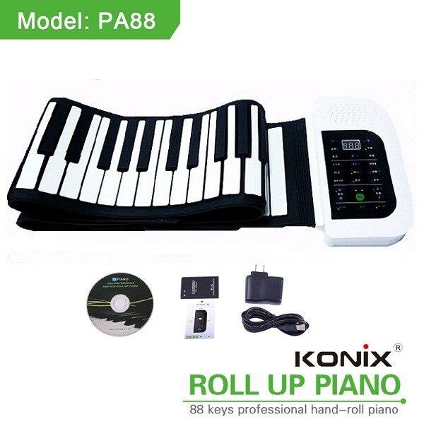 KONIX 88 Key White MIDI Flexible Electronic Roll Up Piano PA88 With Battery