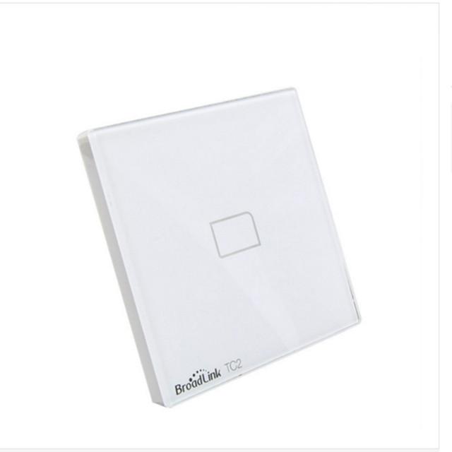 Venda quente! padrão da ue broadlink nova tc2/tc1 1-gang controle remoto de casa inteligente sem fio wi-fi tela sensível ao toque de luz parede interruptor 110v-2