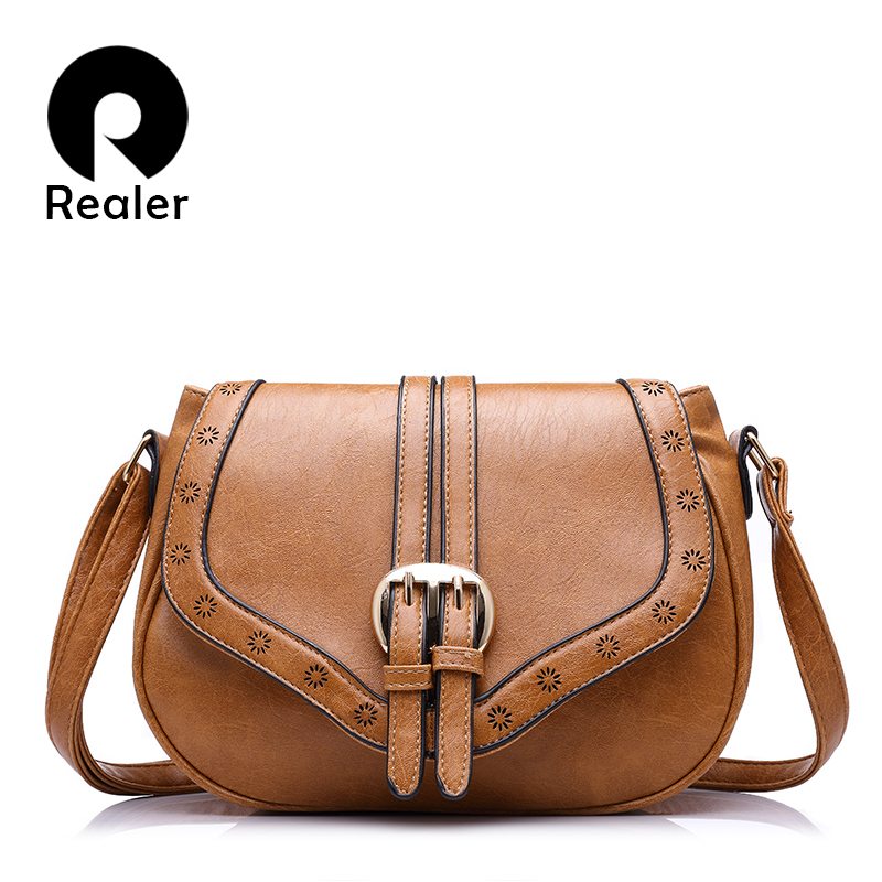 REALER brand women messenger bag female hollow out saddle bag PU fashion ladies