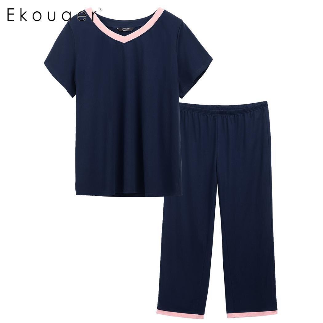 Ekouaer Plus Size   Pajamas     Set   Women Summer Sleepwear Suit Loose Short Sleeve Patchwork V-Neck T-shirts   Pajama   Sleepwear XL-5XL