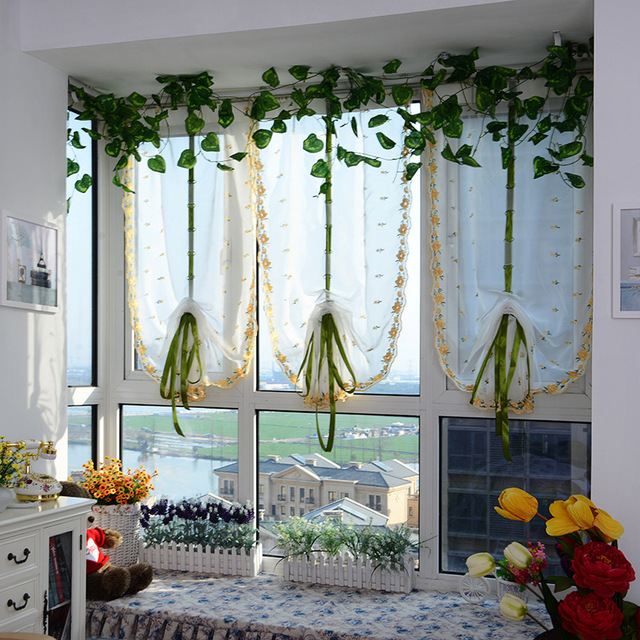 2016 Cafe Kitchen Curtains Voile Window Blind Curtain Owl: 2018 Roman Curtains Top Sheer Kitchen Yellow Window Curtains 1pc Liftering Roman Blinds Water