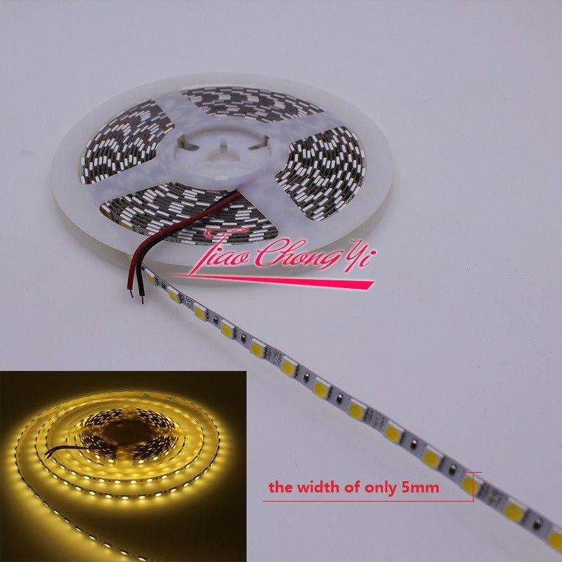 12 В 5 м 5050 600LED теплый белый свет гибкие свет ленты 5 мм ультра-узкий <font><b>pcb</b></font>