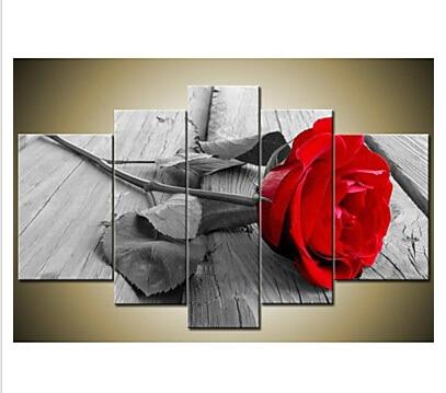 € 29.06 15% de réduction|Peint à la main moderne beau mur Art gris rouge  Rose toile peinture à l\'huile mur décor Floral toile mur art pour la ...