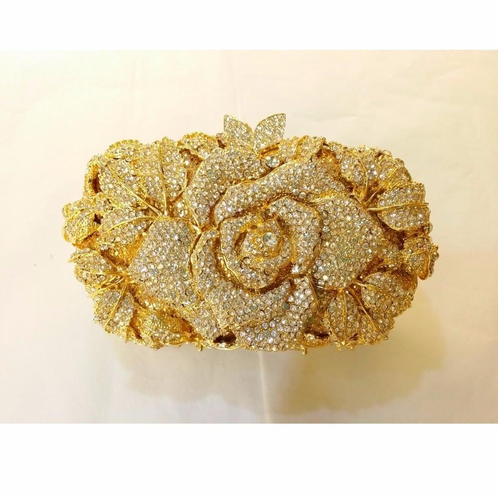 ФОТО 8341CL Crystal Rose Floral flower Lady Fashion Bridal hollow gold Metal Evening purse clutch bag box handbag case