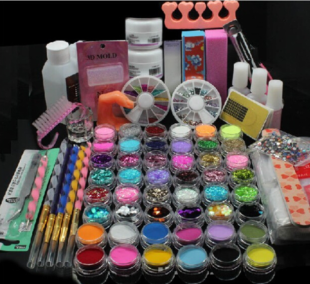 Large quantity UV Gel Nail Art Tools polish Set Kit Remover nail tips glue Acrylic Liquid Powder Glitter Primer Free Shipping 10pcs pink wearable nail soakers polish for remover acrylic