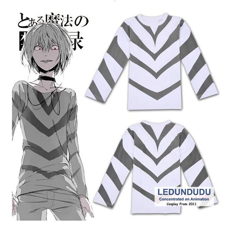 Toaru Majutsu no Index Cosplay Costumes Accelerator T-Shirts Toaru Kagaku no Railgun Men Stripe Tops Short-Sleeve T shirts