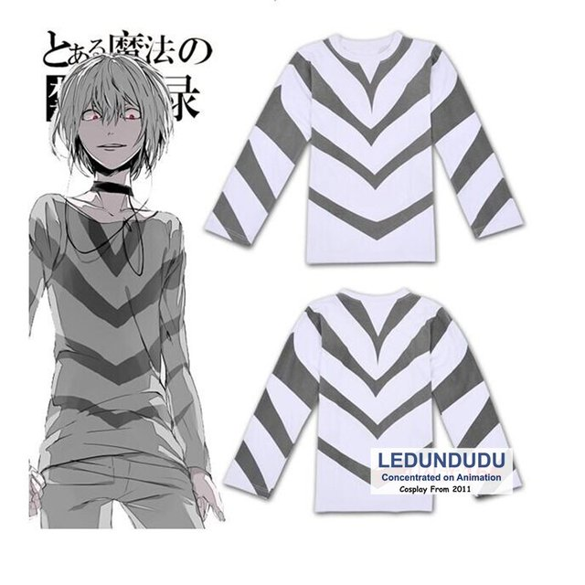 Toaru Majutsu no Index Cosplay Costumes Accelerator T-Shirts Toaru Kagaku no  Railgun Men Stripe
