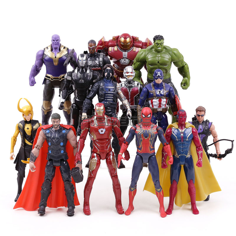 Marvel Avengers Infinity War Thanos Iron Man Captain America Thor Hulkbuster Spiderman PVC Action Figures Toys 14pcs/set avengers super hero mini weapons captain america shield iron man helmet thor hammer figures model toys with led light set page 9