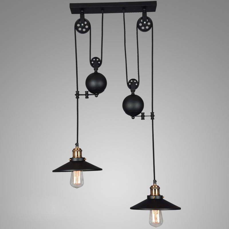 Loft vintage black Iron Pulley pendant lights Bar Kitchen Home Decoration E27 Edison Light Fixtures loft industrial vintage pendant lights bar kitchen home decoration with e27 led light fixtures iron pulley lamp
