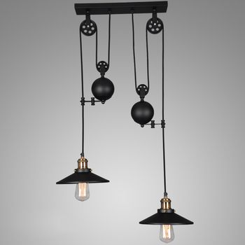 Loft vintage black Iron Pulley pendant lights  Bar Kitchen Home Decoration E27 Edison Light Fixtures