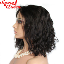 Short Bob Human Hair Lace Front Wigs For Black Women With Baby Hair 130% Nature Color Brazilian Non-Remy Hair 10-24″ Sunny Queen