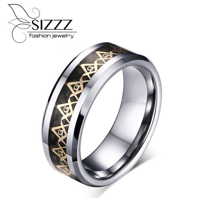 Cool Men Masonic Rings Tungsten Steel Wedding For Jewelry With Blue Black Carbon