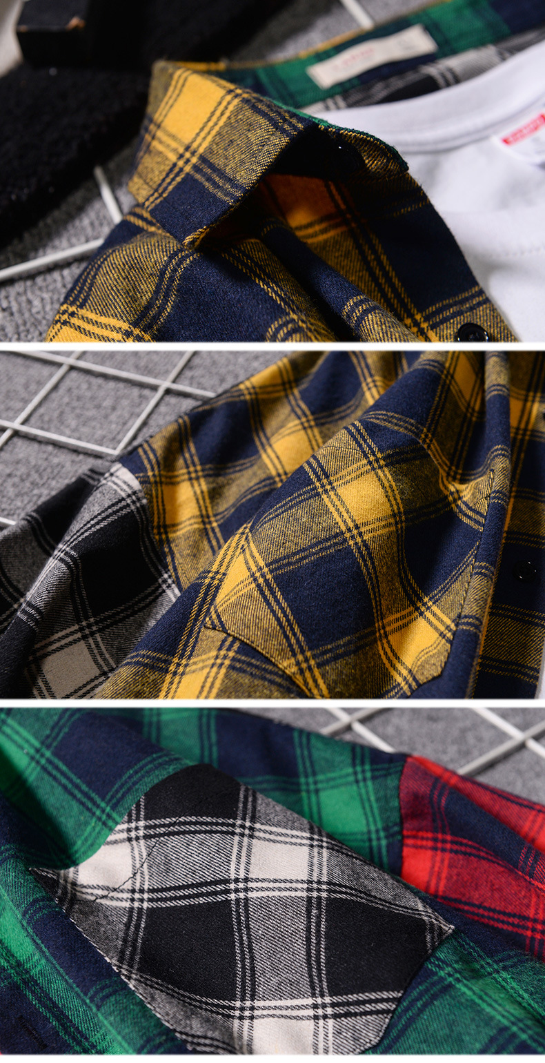 Men 's Loose Plaid Shirt Casual Jacket Student Shirt Plaid Long Sleeve Shirt Spring And Autumn Loose Color Matching Male Shirt 5