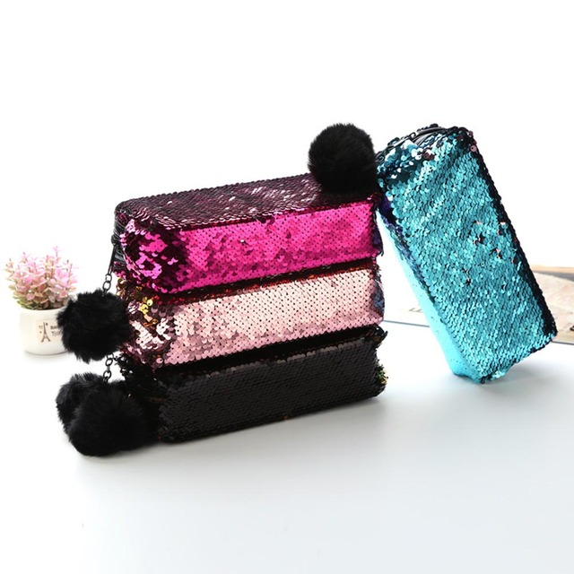 Girls Pencil Bags Unisex Fashion High Quality Double Color Makeup Pouch Women Men's Sequins Cosmetic Cases Cosmetic Bags