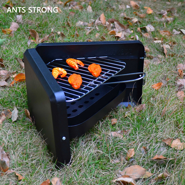 Ants Strong Mini Not Sticky Folding Bbq Grill Portable Outdoor Camping Small Barbecue Stove Triangular Thick Charcoal