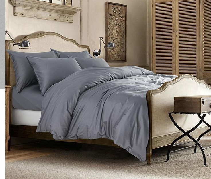 Light Grey Gray 100% Egyptian Cotton Bedding Set King Queen Size Sheet  Quilt Duvet Cover Bed Designer Bedspread Luxury 4pcs 2015 In Bedding Sets  From Home ...