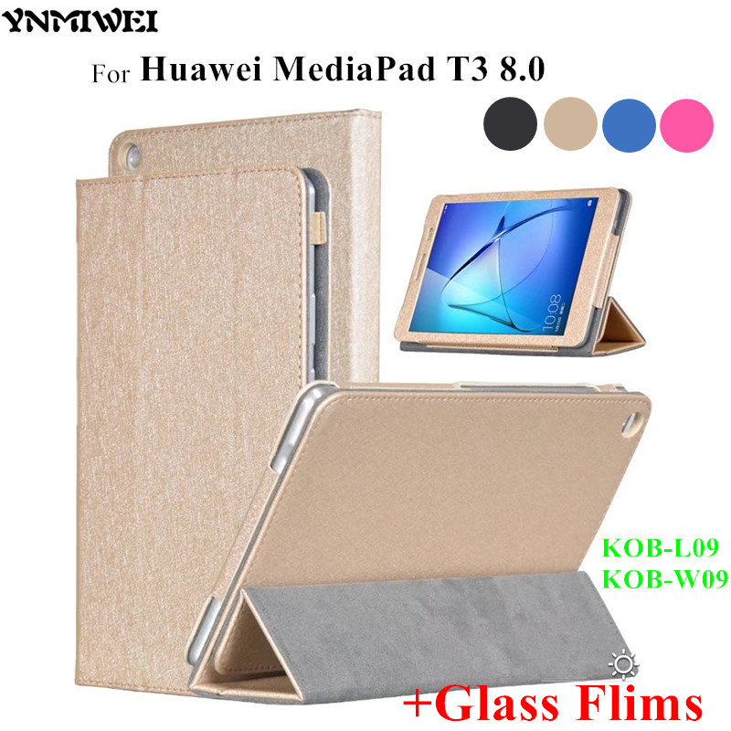 YNMIWEI Honor Play Pad 2 T3 8.0 Tablet Case Silk Print PU Leather Cases For Huawei MediaPad T3 8.0 KOB-L09 KOB-W09 + Glass Flims fashion case for huawei mediapad t3 8 0 kob w09 kob l09 tablet pc for huawei mediapad t3 case cover