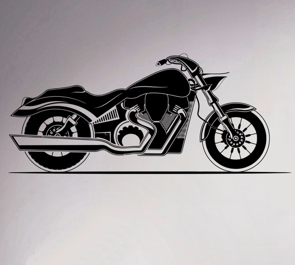 Car club sticker designs - Motorcycle Wall Vinyl Decal Motorbike Sticker Removable Garage Decor Sport Club Home Interior Bedroom Murals