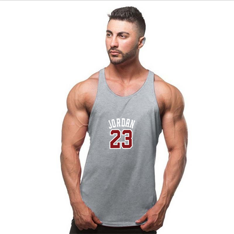 ddf673b8164 US $7.2 |best Bodybuilding Tank Top Men Jordan 23 print Stringer Singlet  Fitness Sleeveless Undershirt Muscle Vest Cotton Shirt Racerback-in Tank  Tops ...