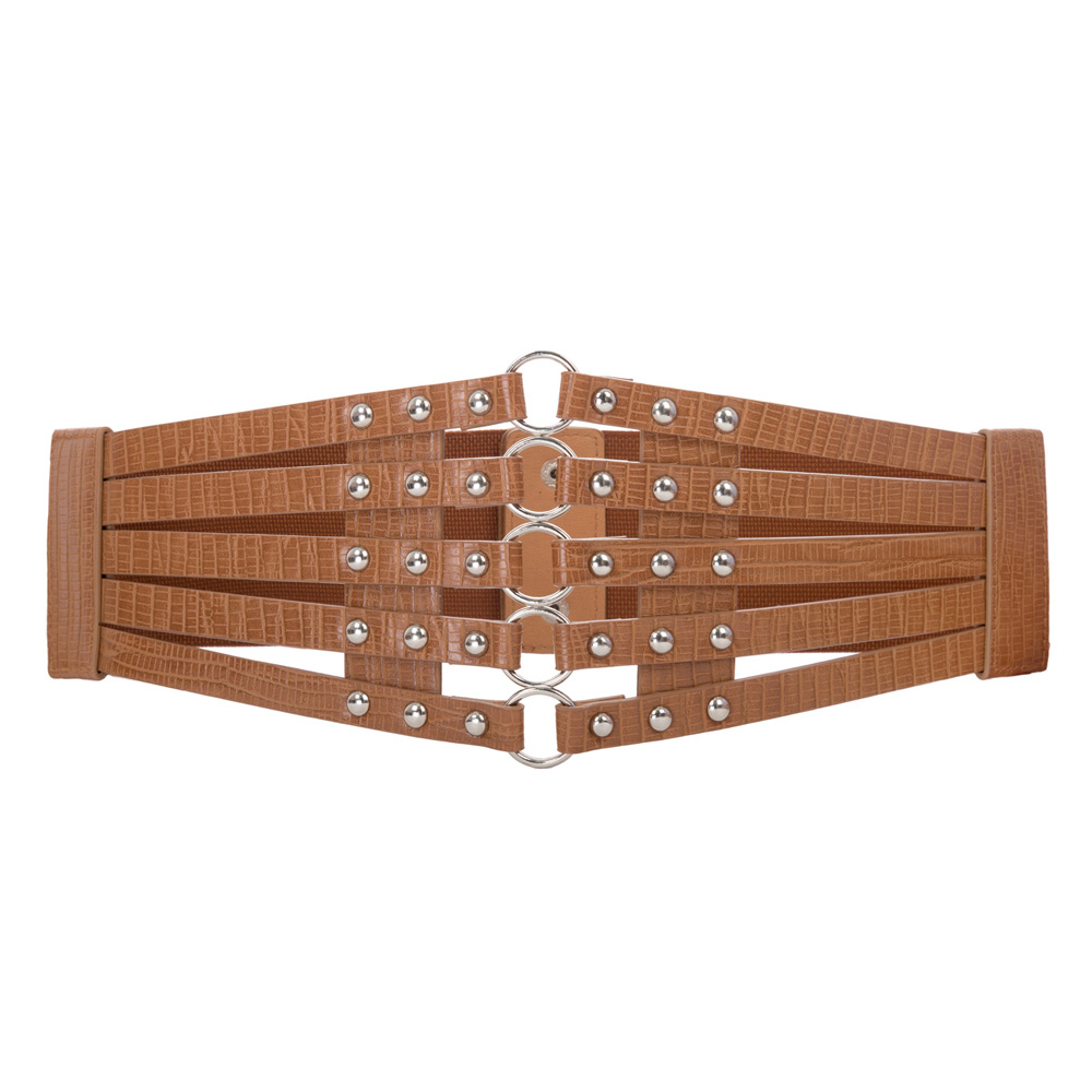Woman Elastic Belts Waist Band Women Vintage Studs Embellished Stretchy Fashion Wide Belt For Dresses Ladies Brown Waistband