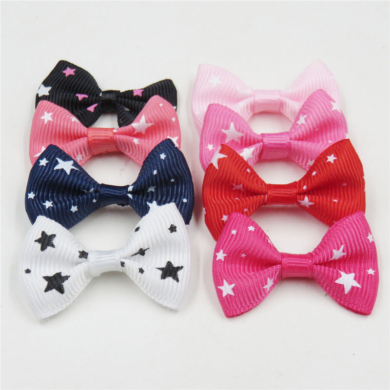 2PCS/LOT Lovely Star Small Bow Hairpin For Girls Hair Tie Childs Elastic Hair Bands Scrunchy Clips Hair Accessories For Kids