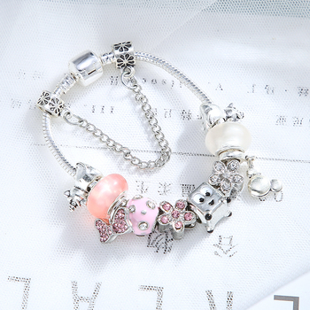 Silver Color Unicorn Bowknot Crystal Beads Bracelet