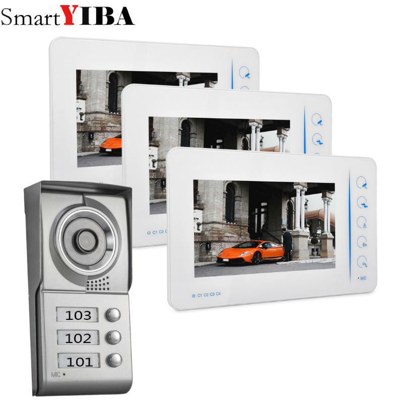 SmartYIBA 7inch White Display Wired Video Intercom Video Doorbell With Outdoor Camera 1000TVL 2 Houses Apartment Intercom
