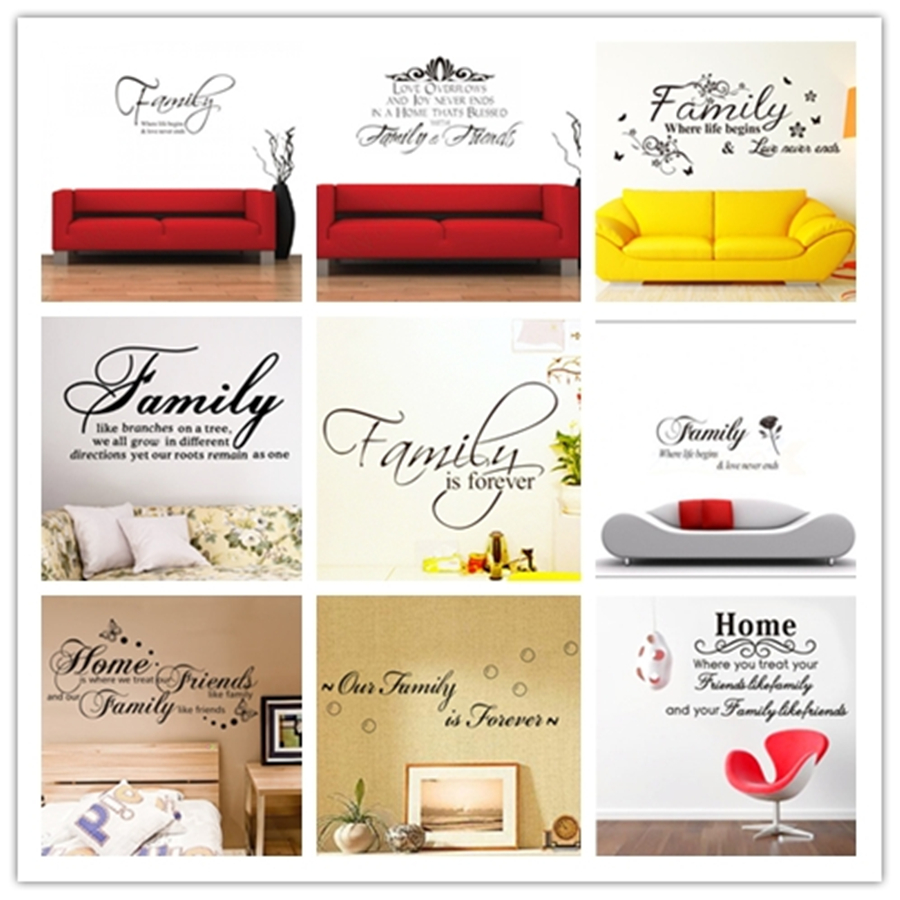% 11 kind different English alphabet family quotes wall stickers Home Decoration living room bedroom Vinyl Decals Sticker thumbnail