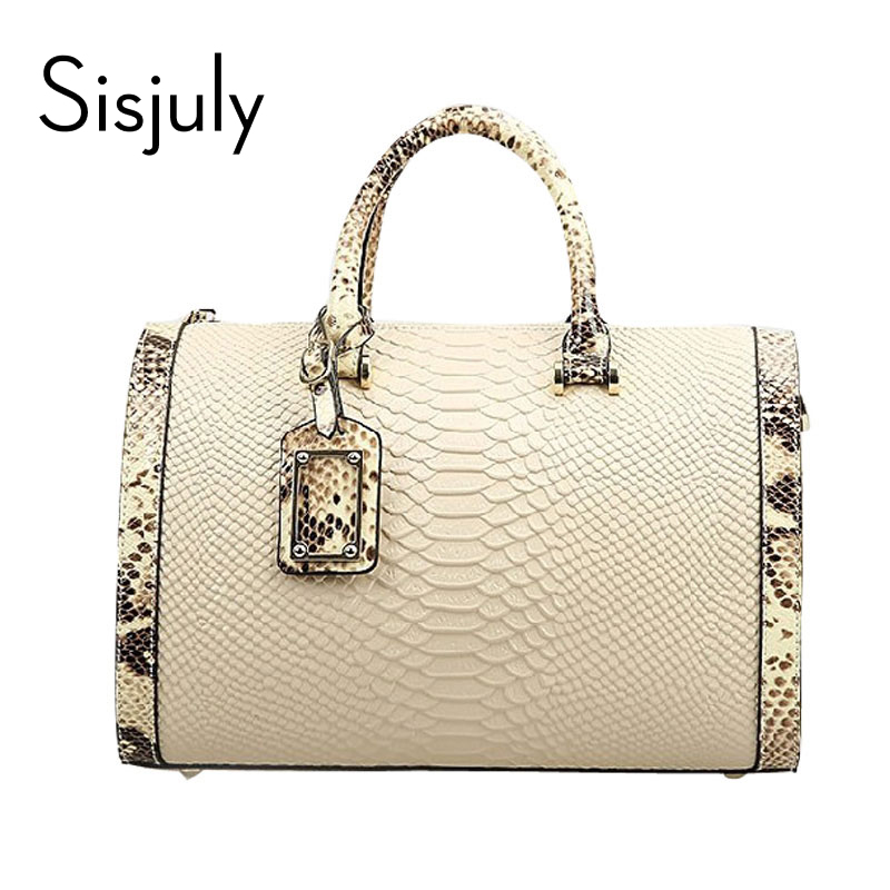 Sisjuly Crocodile Leather Women Handbag Fashion Female Brand Designer Women Shoulder Bag Luxury Lady Crossbody Bag Feminial Sac sisjuly white m